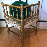 Antique Embroidered Corner Accent Chair