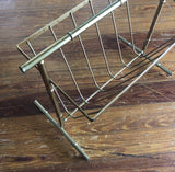 1970s Hollywood Regency Brass Magazine Rack