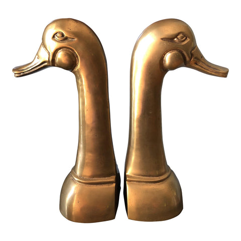 Large Brass Duck Bookends - a Pair - FREE SHIPPING!
