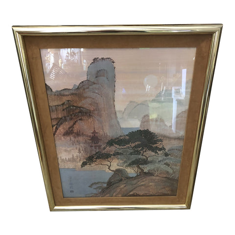 Large Framed Harry Wysocki Heronim Japanese Pagoda Landscape - FREE SHIPPING!