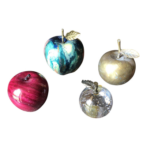 Marble and Brass Apple Paper Weights - Set of 4 - FREE SHIPPING!