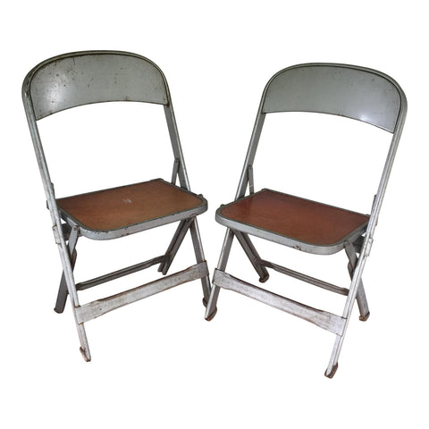 1950s Clarin Mfg. Industrial Metal Children's Folding Chairs - a Pair - FREE SHIPPING!