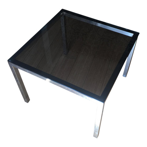 Mid-Century Smoky Glass & Chrome Side Table - FREE SHIPPING!