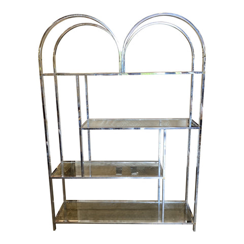 Milo Baughman Style Mid-Century Chrome Shelf - FREE SHIPPING!