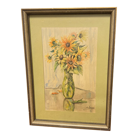 Original Sunflower Watercolor Painting by A. Lucas - FREE SHIPPING!