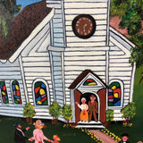 Original Wedding Scene Oil Painting on Canvas by Doris Putnam  FREE SHIPPING