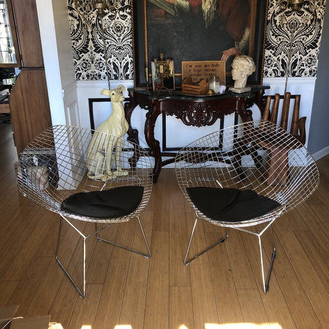 Bertoia Style Silver Woven Wire Chairs - a Pair - FREE SHIPPING!