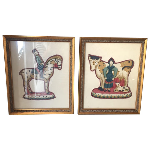 Pair of Turkish Gilded Framed Embroidered Patches - FREE SHIPPING!