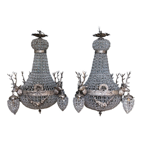 Vintage Warm Silver Stag Deer Chandeliers - a Pair - FREE SHIPPING!