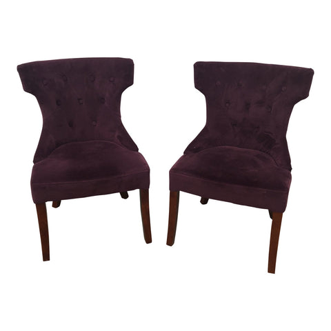 Purple Velvet Side Chairs - a Pair - FREE SHIPPING!