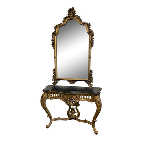 Rococo Style Mirror and Marble Gilded Console Table Set - 2 Pieces** - FREE SHIPPING!