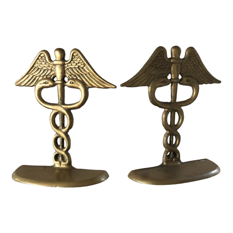 Rod of Aesculapius Brass Bookends** - a Pair - FREE SHIPPING!