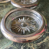 Silver and Glass Coasters or Ashtrays - Set of 5 - FREE SHIPPING!