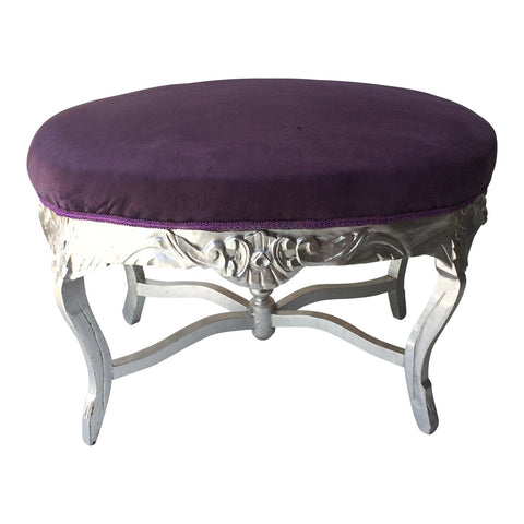 1970s Vintage Purple and Silver Ottoman With X Base Detail - FREE SHIPPING!