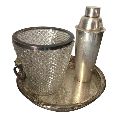 Silver Plated Champagne Bucket, Cocktail Mixer & Tray - FREE SHIPPING!