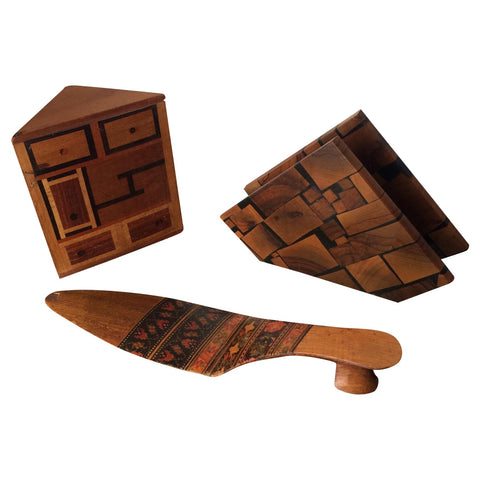 Small Marquetry Wooden Desktop Collection with Inlay** - set of 3 - FREE SHIPPING!