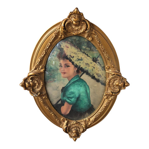 Spanish Lady in Antique Wooden Rococo Frame - FREE SHIPPING!