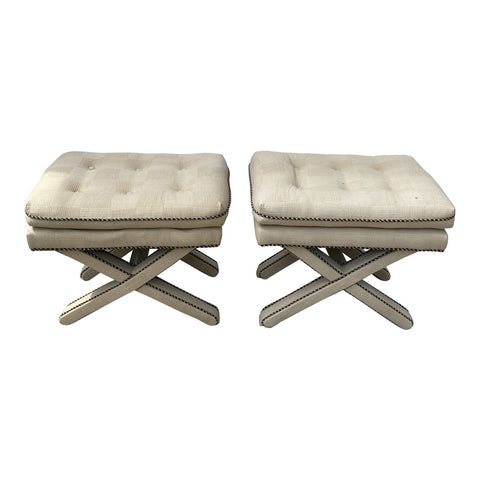 Upholstered X Based Benches - a Pair