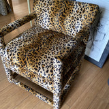 Velvet Cheetah Newly Upholstered Parsons Chairs - a Pair