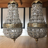 Vintage Crystal and Brass Pendant Chandeliers - a Pair - FREE SHIPPING!
