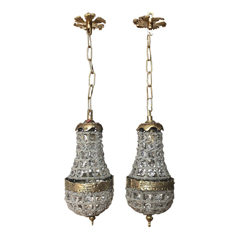 Vintage Crystal and Brass Pendant Chandeliers** - a Pair