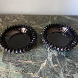 Vintage Black Depression Glass Ashtrays - a Pair - FREE SHIPPING!