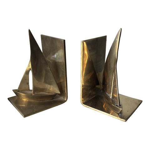 Vintage Brass Sailboat Bookends - a Pair - FREE SHIPPING!