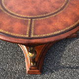 Vintage Leather Top Acanthus Coffee Table - FREE SHIPPING!