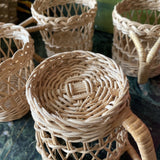 Vintage Wicker Glass Holders With Caddy - FREE SHIPPING!