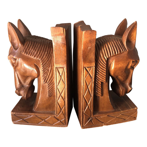 Wooden Horse Bookends - A Pair - FREE SHIPPING!