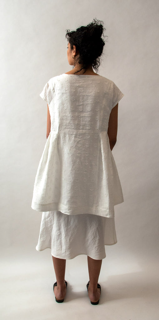 Linen Jacquard Tunic with Side Pleats - Ivory