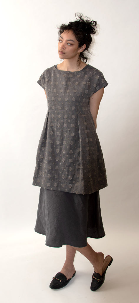 Linen Jacquard Tunic with Side Pleats - Grey