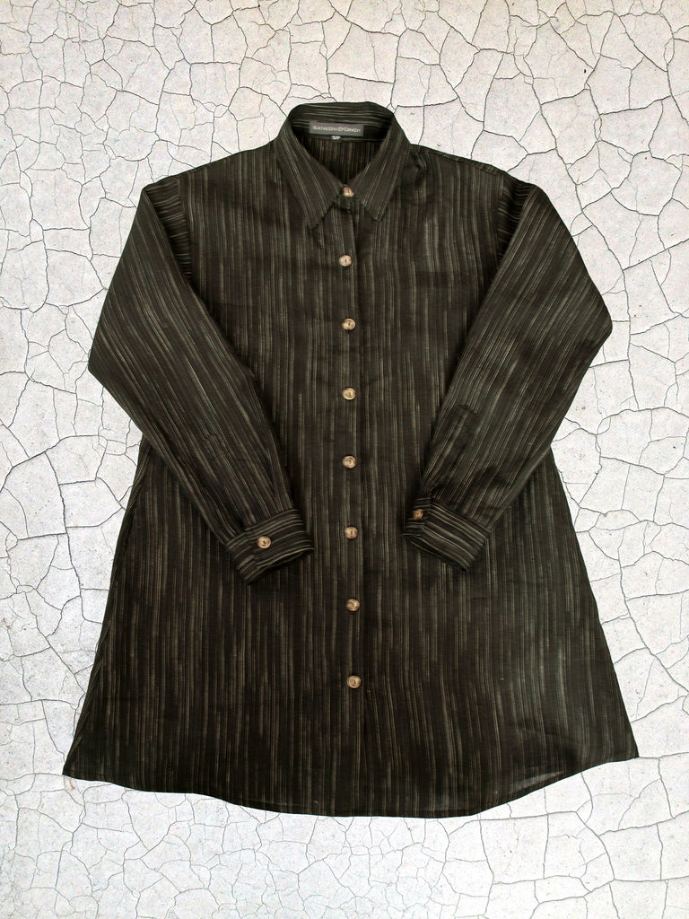 Button-Down Tunic - Black w/ Variegated Stripe