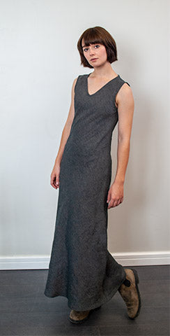 Bias V-Neck Linen Dress