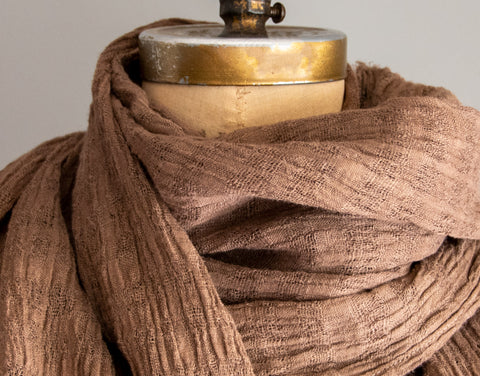 #31 Textured Linen Scarf - Naturally Dyed - Brown