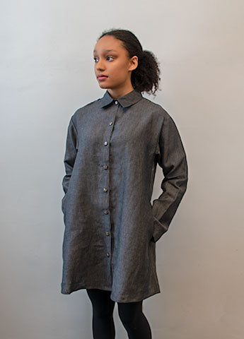 Linen Tunic Blouse - Charcoal
