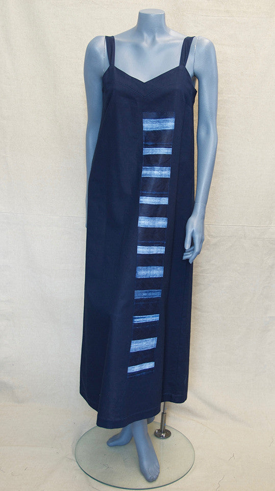 Navy Dress with Nigerian Indigo Appliqué