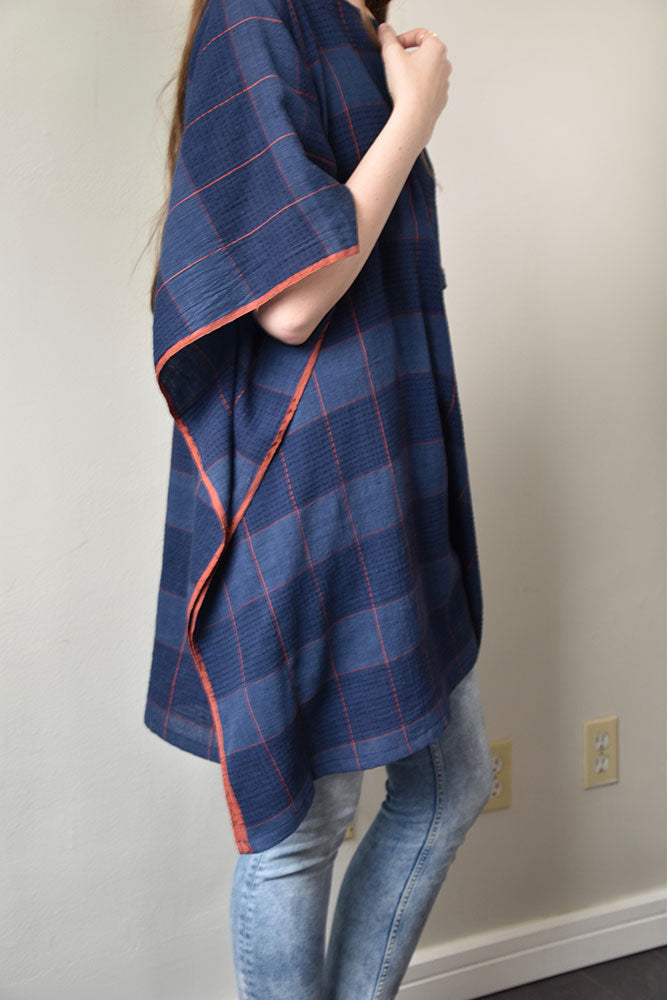 Handwoven Poncho Tunic - Blue Plaid