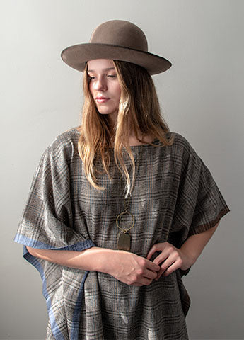 Handwoven Poncho Tunic - Glen Check