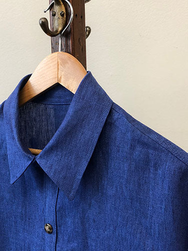 Linen Tunic Blouse - Blue