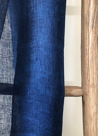 Linen Scarf - Dyed with Indigo
