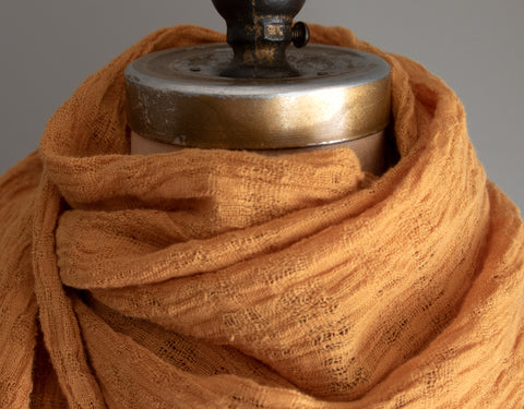 #32 Textured Linen Scarf - Naturally Dyed - Orange