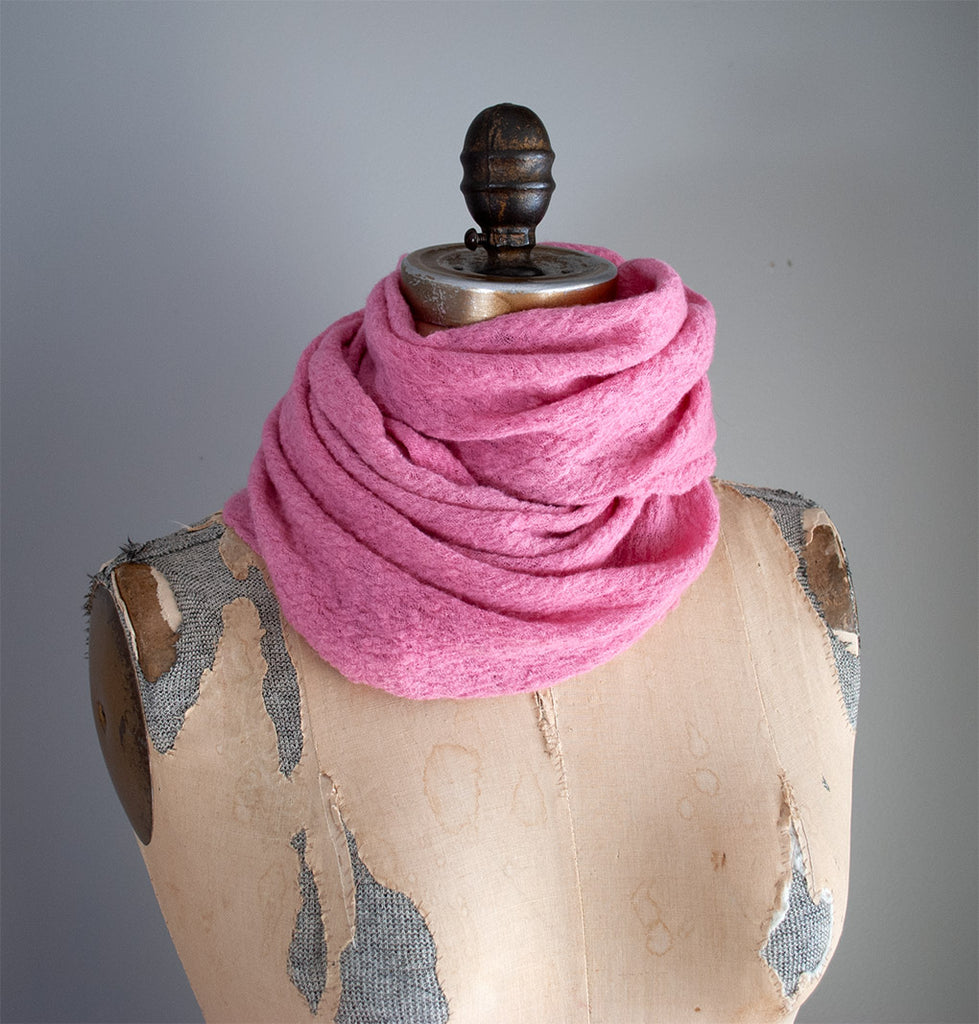 #06 Textured Wool Scarf - Cochineal (Pink)