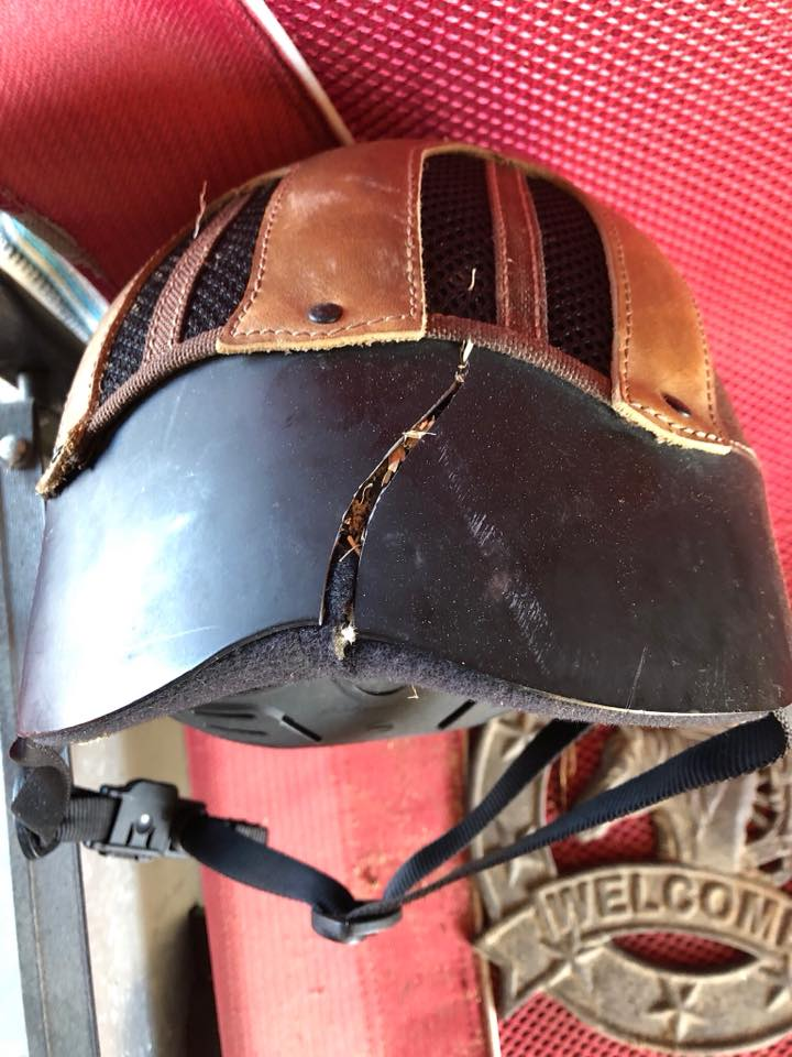 cracked western helmet after trailriding fall