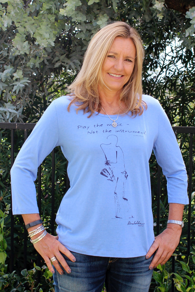 Women's Bamboo/Cotton Scoop-Neck, 3/4 Sleeve, Periwinkle blue, sax design