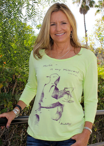 Women's Bamboo/Cotton Scoop-Neck, 3/4 Sleeve, Kiwi color, Piano design