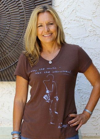 Women's Bamboo/Cotton V-Neck, Short Sleeve Cocoa, Sax design