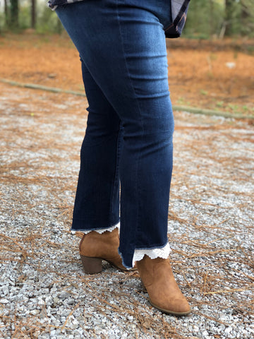 Distressed Lace Hem Bootcut Jeans