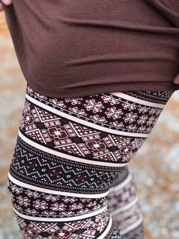 Brown Aztec Print Buttery Soft Leggings