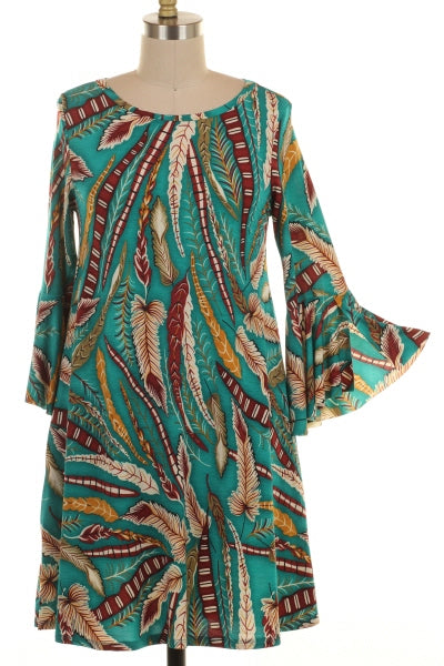 Ruffle Sleeve Feather Print Dress